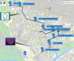 Движение маршрутных автобусов до ТРЦ «Сургут Сити Молл»
