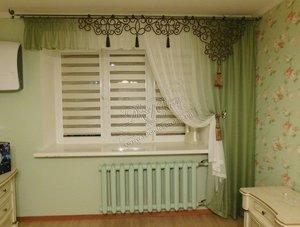 """Свежие фотографии наших работ с текстильным оформлением спальни: вуаль, ажурный ламбрекен и рулонные шторы """"Зебра"""""""