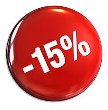 Ваша скидка на каждый товар 15%!