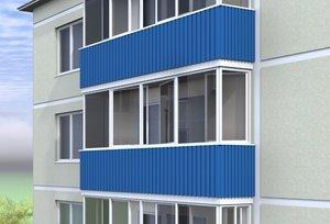 Услуги по внешней отделке балкона профлистом