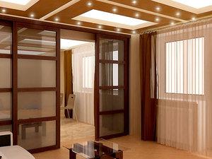 Раздвижные перегородки для зонирования пространства в комнате