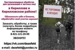 Обработка участка от клещей в Кириллове и Кирилловском районе