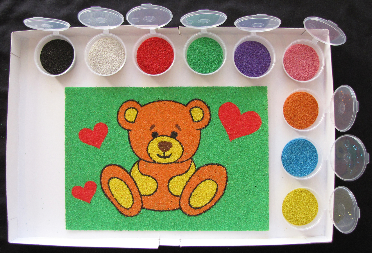 Картинки из песка для детей своими руками