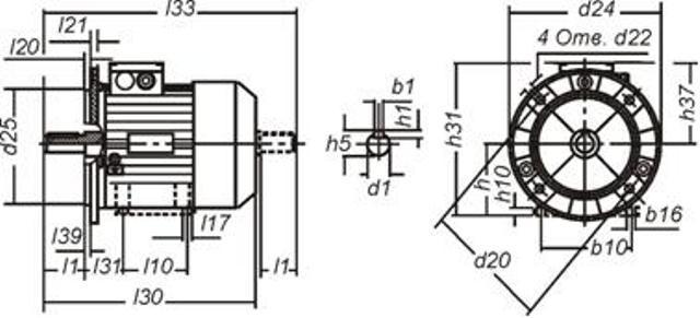 Основные габаритно присоединительные размеры электродвигателя: