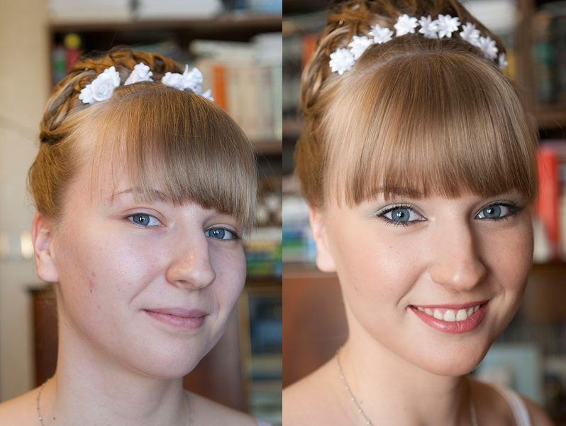 сделать на фото макияж прически