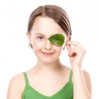 зелёный листок,закрыт глаз, зрение,амблиопия