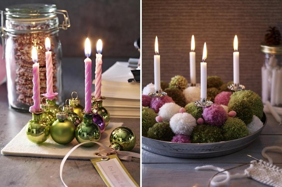 Новогодний стол со свечами своими руками