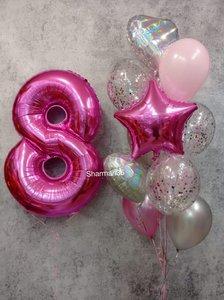 Фонтан из гелиевых шаров для девочки и шаром цифрой купить заказать в Череповце