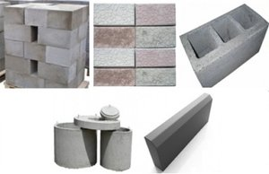 Строительные материалы: фундаментные блоки, шлакоблоки, тротуарная плитка.