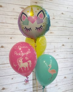 Воздушные шары с Единорогом и Фламинго купить в Череповце
