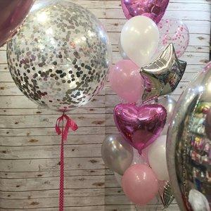 Большие шарики с конфетти и надписью