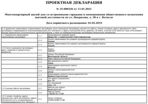 Проектная декларация (редакция от 11. 01. 2021 г. )