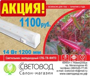 АКЦИЯ!!! Светильник светодиодный СПБ-T8-ФИТО 14Вт 1200мм всего 1100руб!