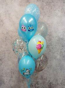 Фонтан из воздушных шаров с совушками и единорогами на детский день рождения купить/заказать в Череповце