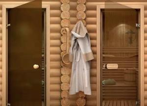 Стеклянные двери в баню. Банные двери