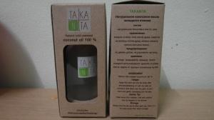 Новая упаковка для кокосового масла Таканта, 100 мл, стекло