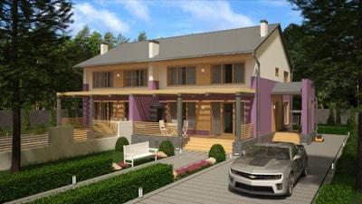 Дом из бруса 'Дуплес'
