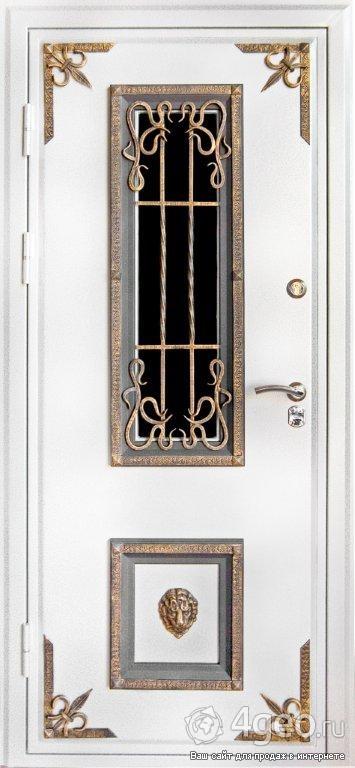 белые кованые входные двери