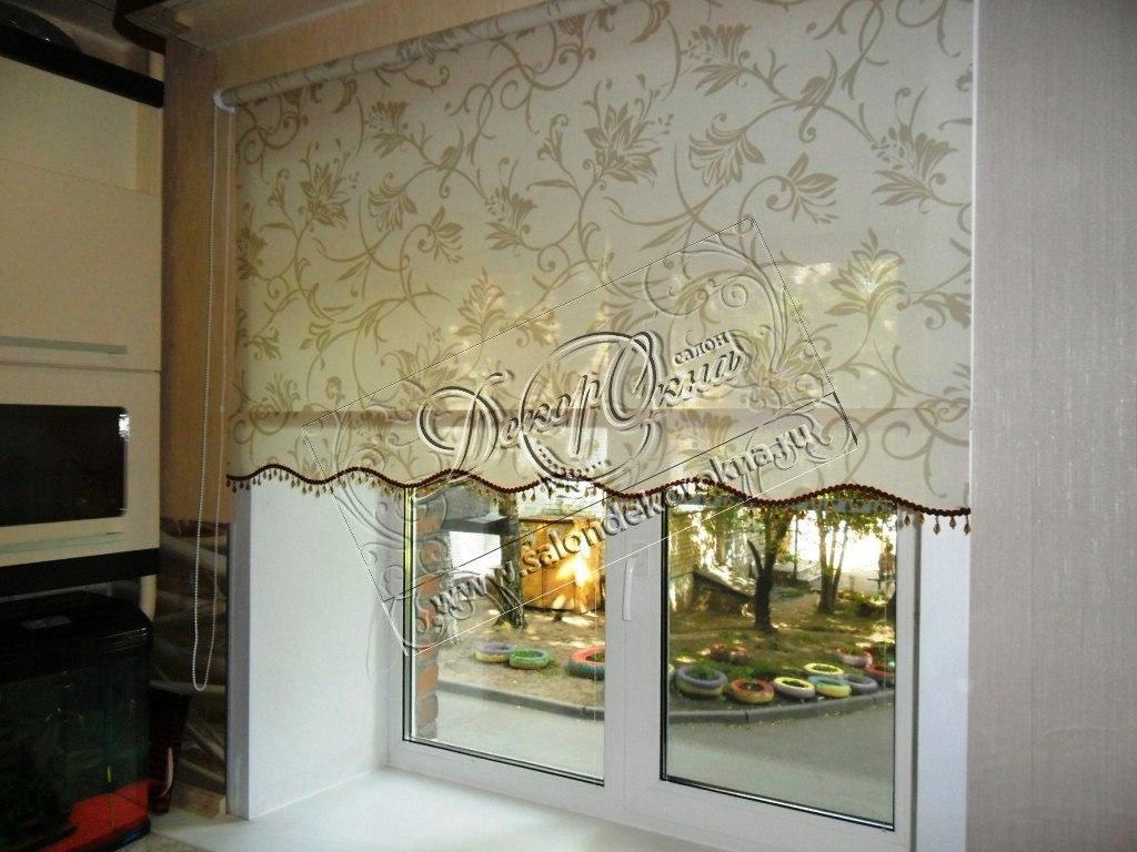 рулонные шторы из витражных тканей вуалей