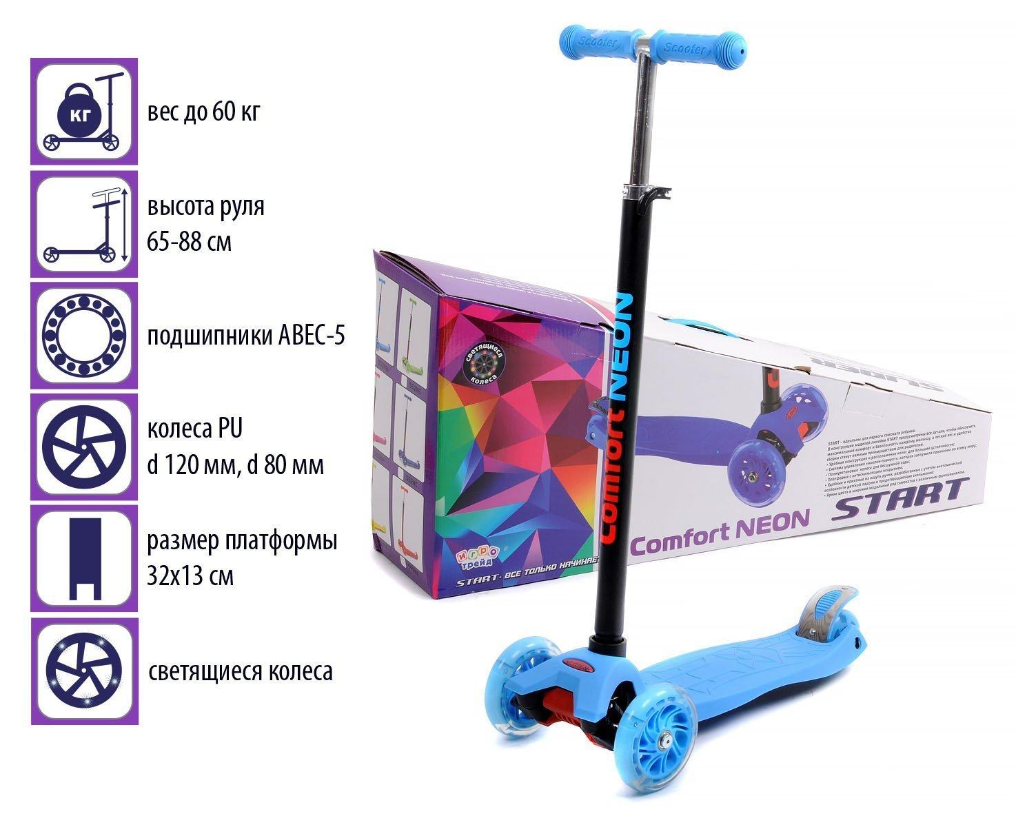 Самокат четырёхколёсный. Руль металлический с резиновой рукояткой, регулируется по высоте Высота ручки(min/max): 66-87 см. Колеса: PU, светящиеся Диаметр переднего колеса: 120 мм. Диаметр заднего колеса: 80 мм.( сдвоенное- 2 шт.) Подшипники: ABEC-5 Платформа: РР+нейлон, размеры 55*14 см. Максимальная нагрузка: 60 кг. Возраст: от 2-х лет Цвет- синий, яркий, неоновый.