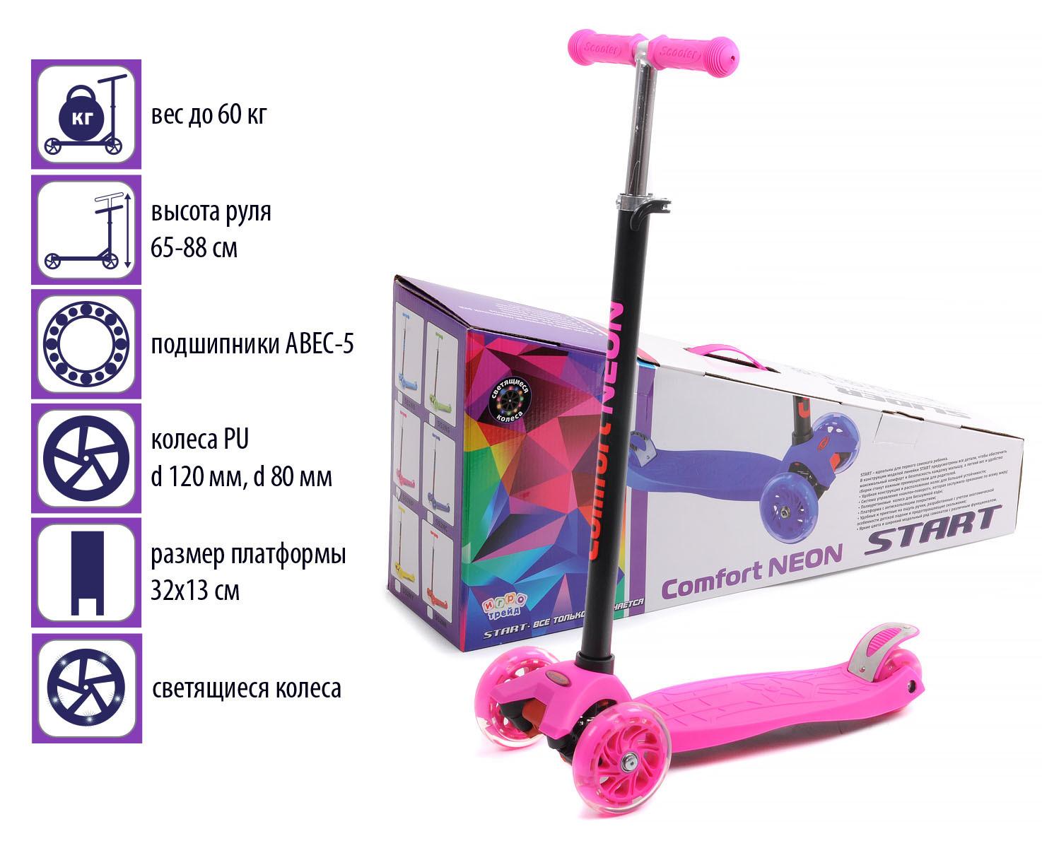 Самокат четырёхколёсный. Руль металлический с резиновой рукояткой, регулируется по высоте Высота ручки(min/max): 66-87 см. Колеса: PU, светящиеся Диаметр переднего колеса: 120 мм. Диаметр заднего колеса: 80 мм.( сдвоенное- 2 шт.) Подшипники: ABEC-5 Платформа: РР+нейлон, размеры 55*14 см. Максимальная нагрузка: 60 кг. Возраст: от 2-х лет Цвет- розовый, яркий, неоновый.