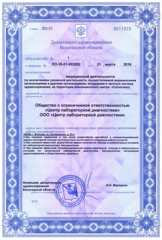 Лицензия от 21.03.2016 (ЦЛД)